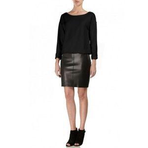 Bailey 44 Sweatshirt Dress with Leather Skirt